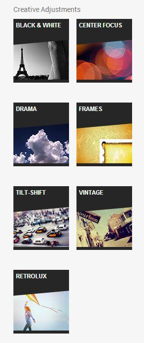 Креативни корекции: Black & White, Center Focus, Drama, Frames, Tilt Shift, Vintage, Retrolux