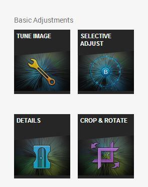 Основни настройки: Tune Image, Selctive Adjust, Detail, Crop and Rotate