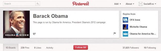 Барак Обама има официален профил в Pinterest от месец март тази година.