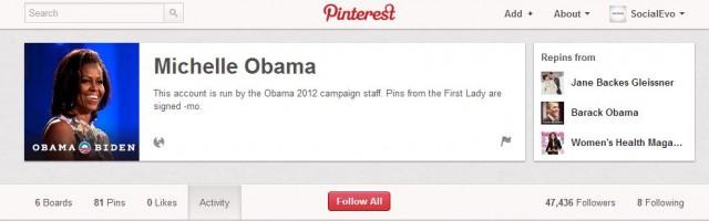 Същото важи и за първата дама Мишел Обама, която се присъедини към Pinterest през месец юни.