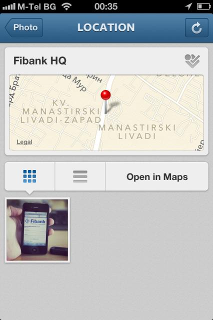 Ако някой е свързал снимка в Instagram с обект във foursquare, можете директно да щракнете върху иконката на 4sq и ще се зареди мобилното 4sq приложение, а ако го нямате, ще влезете в оптимизирания сайт.