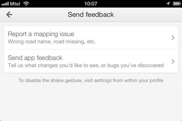Ако сметнете, че нещо по картата не е наред или може да се подобри, просто разклатете телефона при запалено Google Maps приложение и ще ви излезе ето това меню.