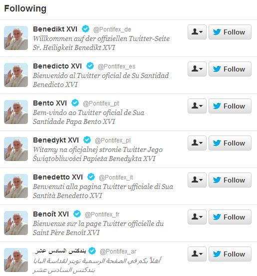 Освен официалния профил на английски @Pontiflex Папа Бенедикт има и още 7 официални профила - съответно на немски, испански, португалски, полски, италиански, френски и арабски.