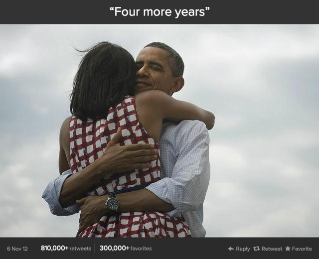 """Призът в класацията за най-споделян туит с любимо съдържание за феновете за тази година е отреден за поста на Барак Обама """"Още четири години"""" , публикуван веднага след неговото преизбиране за президент на САЩ."""