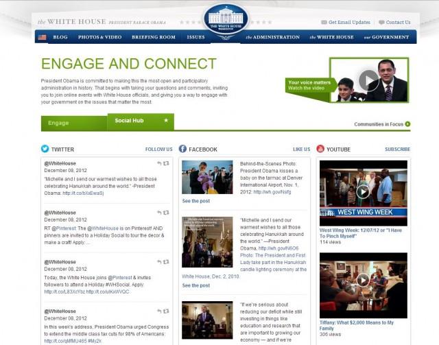 """Белият дом има и специално създаден социален сайт, наречен """"Social Hub"""", в който може да се намери актуална информация от множеството социални канали, в които Белият дом присъства."""