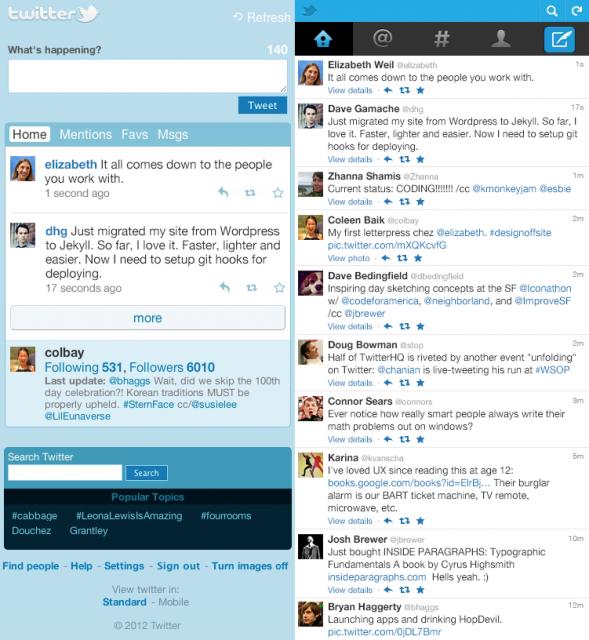 Ето как изглежда мобилният сайт: mobile.twitter.com