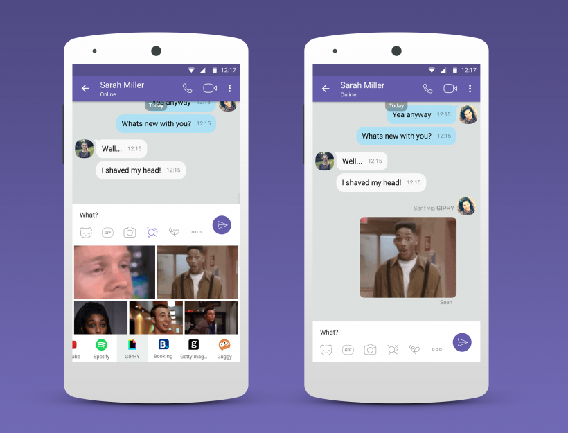 Viber Chat Extensions Giphy Handset