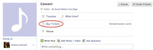 Facebook с нов бутон buy tickets
