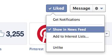 """При мен освен """"Lists"""", към които мога да добавя дадена страница, съществува и възможността да следя публикациите на страницата в своя Newsfeed, като избера директно """"Show in News Feed"""""""