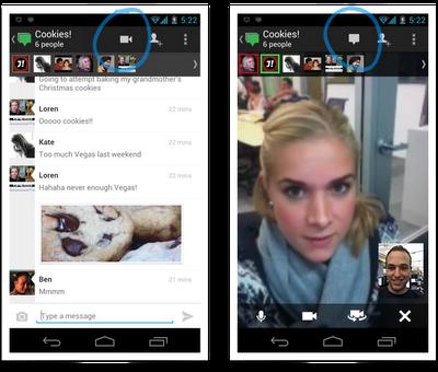 Ще има възможност за стариране на Google+ Hangouts от Аndroid или iPhone устройства.