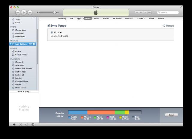 Остана само да синронизираш телефона с iTunes и да метнеш мелодийката на него.