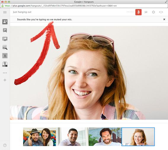 Google+ Hangouts разкрива и заглушава пишещите по клавиатурата по време на разговор