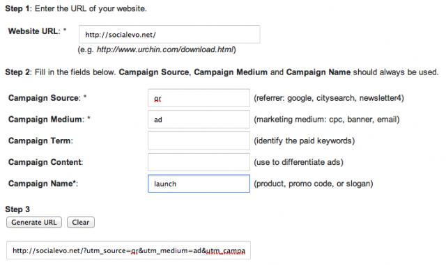 Ето как би изглеждала формата на URL Builder адрес с адреса на Socialevo, който например можем да кодираме в QR код в рекламна брошура