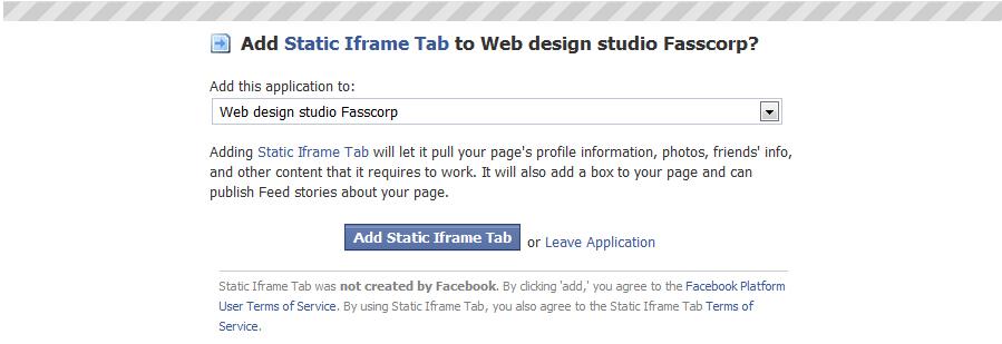 Static iFrame Tab setup