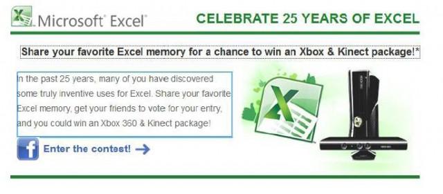 За 25-ата годишнина на Excel Microsoft решават да увеличат популярността на програмата сред феновете.
