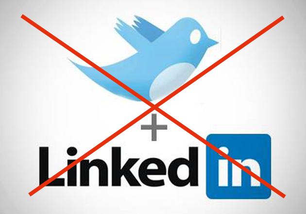 Край на Споделянето от Twitter в LinkedIn