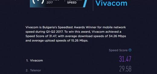 Най-бързата мобилна мрежа в България за 2017 г. е на VIVACOM според спийдтеста на Ookla